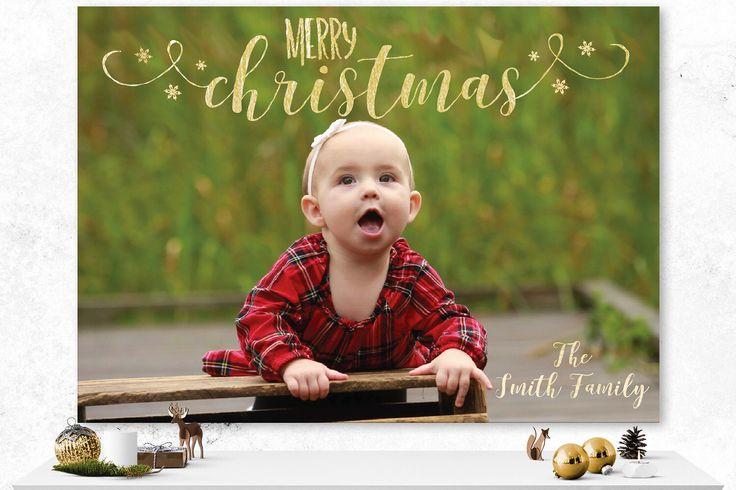 Christmas Card | Custom Holiday Card | Photo Card | Digital Custom Card | Family Christmas Card | Gold Card | Custom Photo Card | Script by IspiratoPrintables on Etsy https://www.etsy.com/ca/listing/491317745/christmas-card-custom-holiday-card-photo