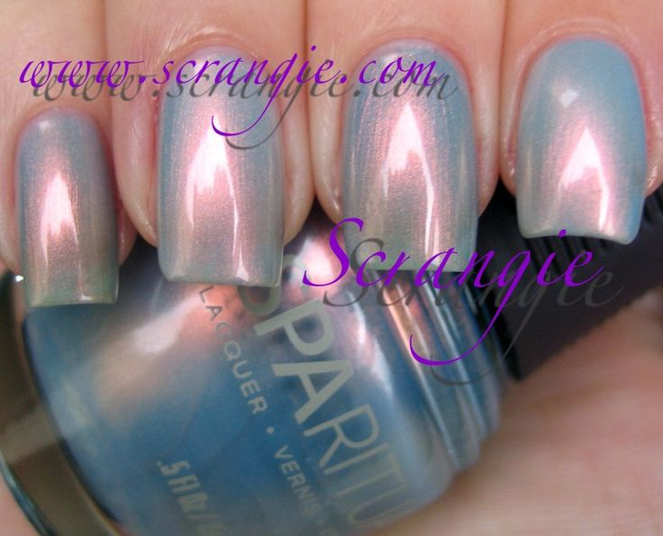 DUPE: Orly-Sky Blue Pink (Pinky/Middle Finger) Vs. SpaRitual-It's Raining Men (Ring/Pointer Finger) / Scrangie