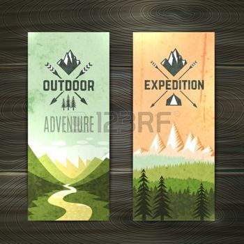 banner design: Tourism hiking holidays forest landscape with mountain peaks and two vertical banners set abstract isolated vector illustration