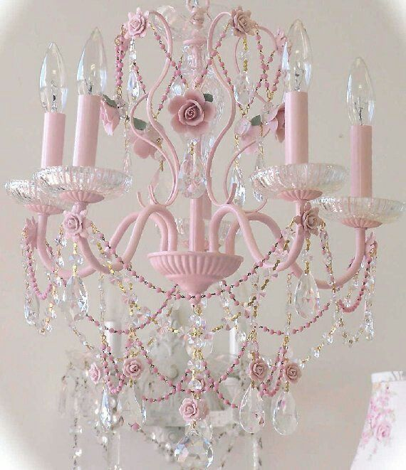 Wow! What a chandelier! Pink painted chandelier with LOTS of crystals.