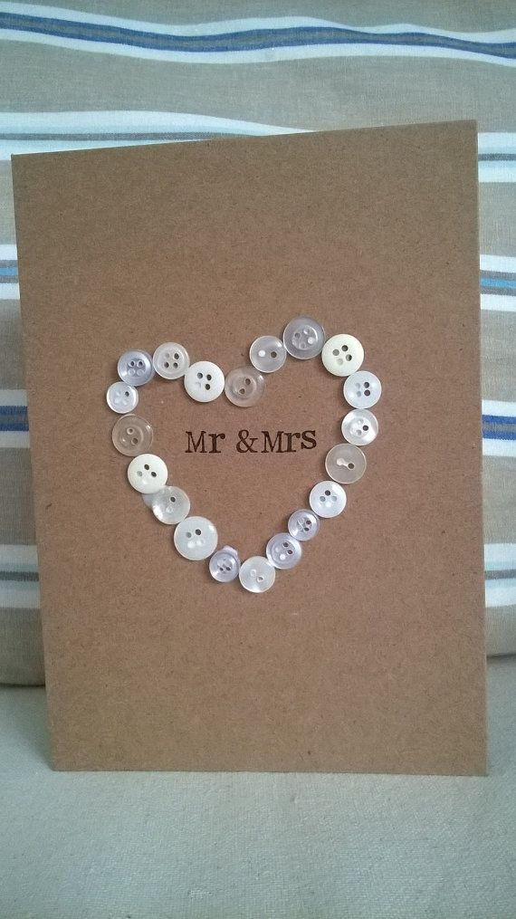 Button heart  wedding card  Engagement  by Windovertide on Etsy