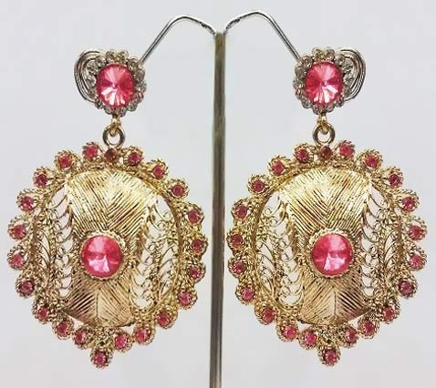Earrings, Earring, Pink Stone Studded Imitation Earring | $20.87