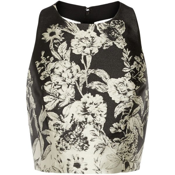 Alice + Olivia Joelle cropped leather-trimmed jacquard top ($370) ❤ liked on Polyvore featuring tops, black, zipper crop top, jacquard top, alice + olivia, zipper top and open back crop top