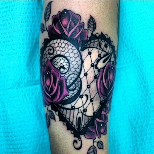 Lace heart | cute-tattoo. Beautiful Tattoo Ideas. I'd want this on my thigh! :)