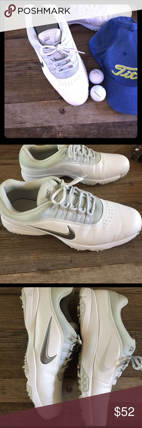 🙋🏻♂️MEN'S NIKE 2016 AIR RIVAL 4 golf shoes These are The LATEST NIKE GOLF SHOES. Hey have been worn once. White with light gray . Excellent condition minor flaws. Beautiful golf shoes!! Nike Shoes Athletic Shoes