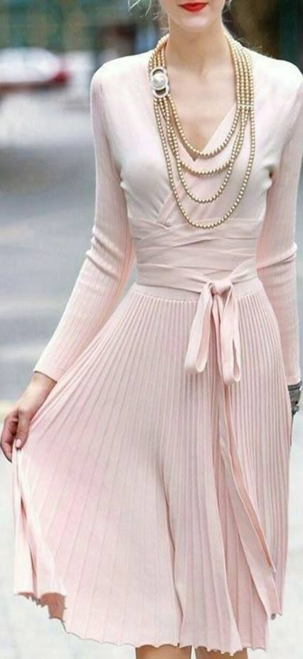 Gorgeous blush spring pleated wrap dress