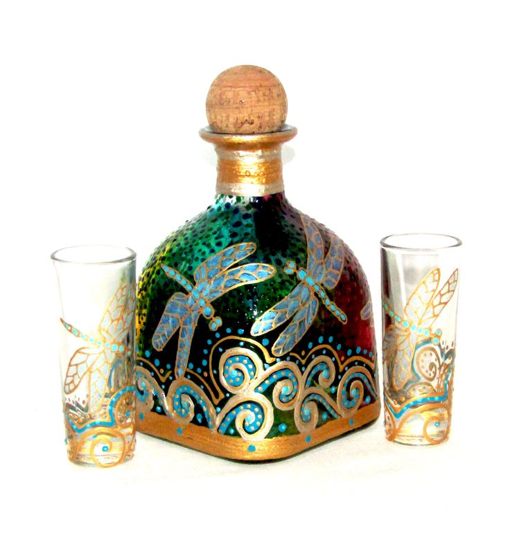 Gold Dragonfly Decanter Patron Bottle Art on Glass Hand Painted Tabletop Accessories