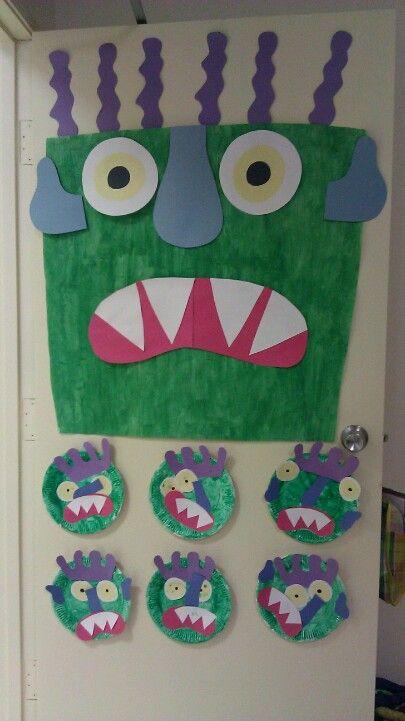 Go Away Big Green Monster! Door  decorations, Pre K art