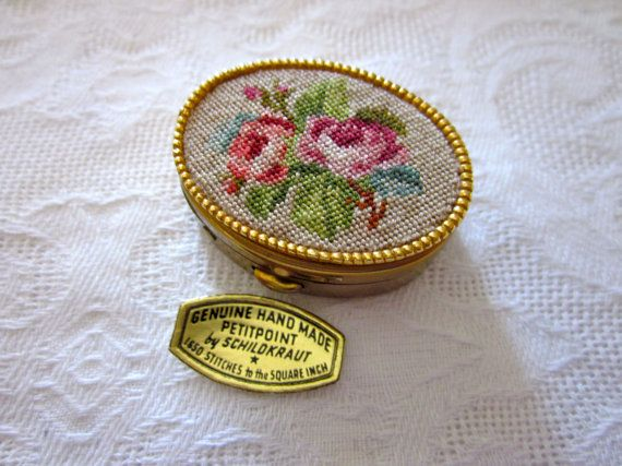 VIntage SCHILDKRAUT Petitpoint Petit Point PILL by jewelryannie