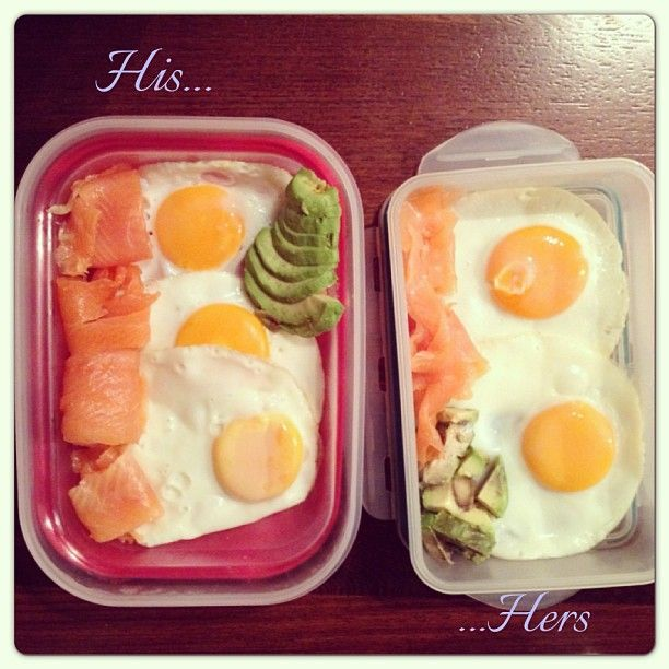 His & hers breakfast. Smoked Salmon, sunny side-up eggs and avocado. #healthy #breakfast #salmon #eggs http://instagram.com/p/bzEg6iRxla/