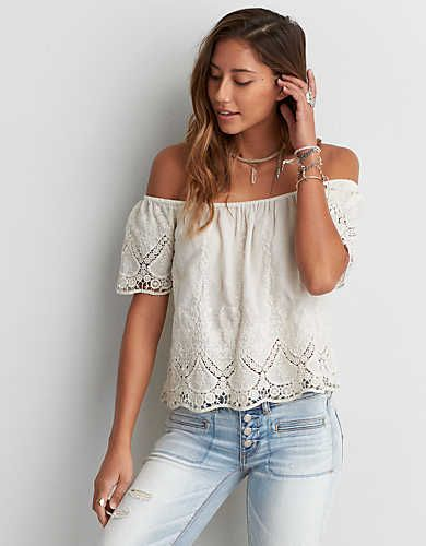 AEO Eyelet Off-the-Shoulder Top , Cream | American Eagle Outfitters