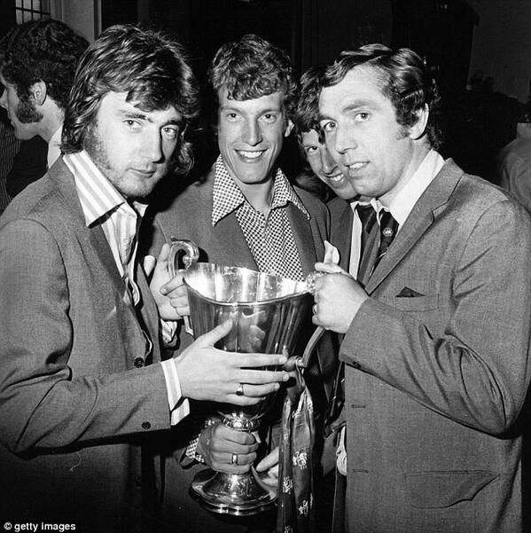 #Chelsea's Alan Hudson, Stewart Houston & Marvin Hinton with the Cup Winners Cup 1971