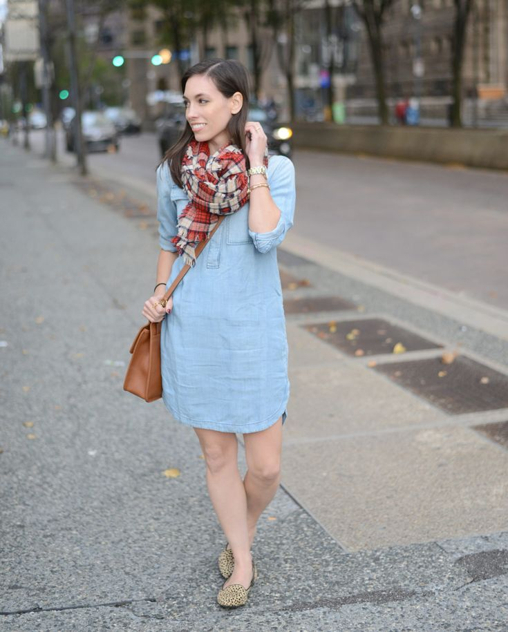Wellesley & King | A fall outfit in a chambray shirt dress and a plaid blanket scarf. Click to shop the full outfit!