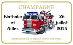 Etiquette champagne personnalisée pompier