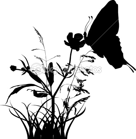 butterfly on wild flower silhouette | Inspirational Ideas ...