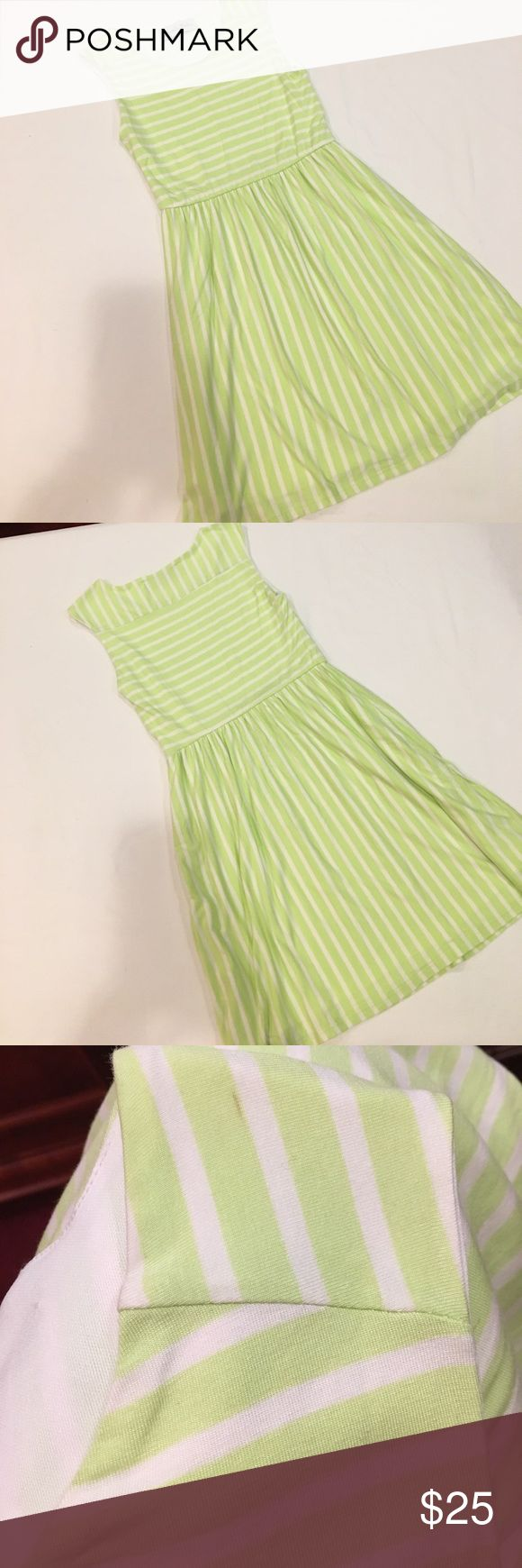 "Gabriella Rocha dress NWOT Gabriella Rocha dress. Fitted bodice with flair skirt. Mint green and white stripe dress. Approximately 32"" Long from shoulder. slight mark on shoulder that is in the stitching. NWOT. Never worn. Gabriella Roche Dresses"