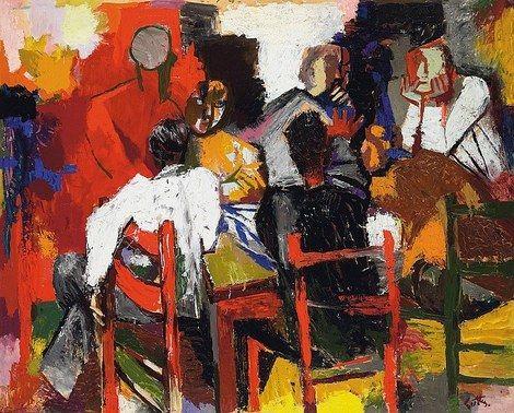 Renato Guttuso, Giocatori di carte (Amici all'osteria), 1957 on ArtStack #renato-guttuso #art
