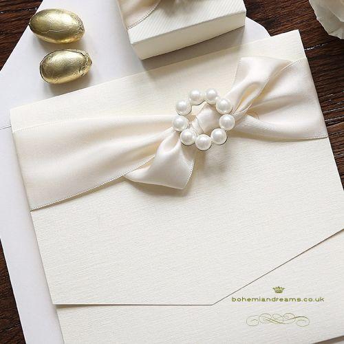 romantic pearl wedding invitation www.bohemiandreams.co.uk