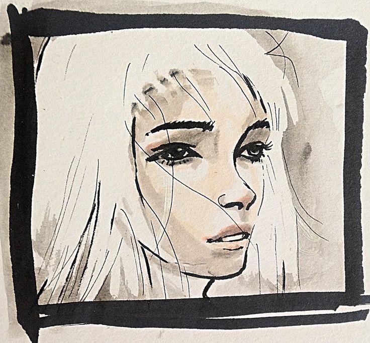 White hair fantasy babe. #Portrait #drawing
