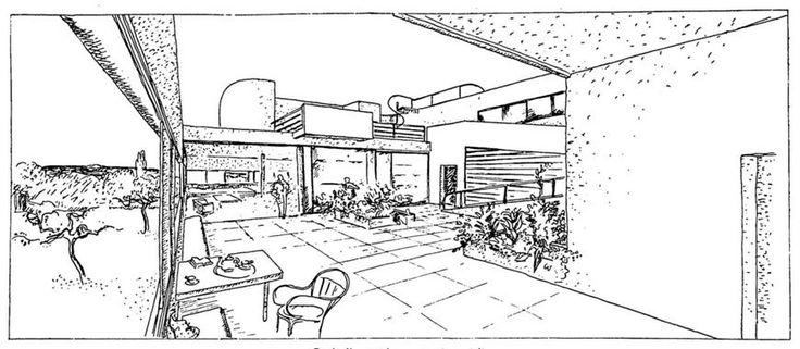 Villa Savoye Le Corbusier terrace sketch 2