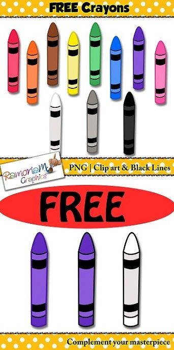 FREE Crayons clip art set containing a total of 21 images.