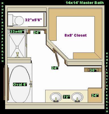 Water Closet Dimensions In Inches | ... Size/Free 14x14 Master Bathrooms  Left