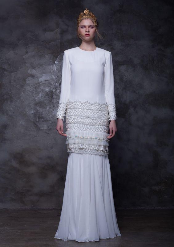 Atelier Rinaldi by Rico Rinaldi #white #chiffon #wedding #apparel #modesty #traditional #malay