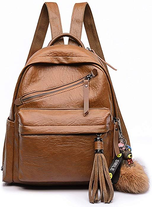 72d88f101695 Amazon.com  FIGROL Women Backpack Purse PU Leather Ladies Rucksack  Lightweight Crossbody Travel School Shoulder Bag  Clothing