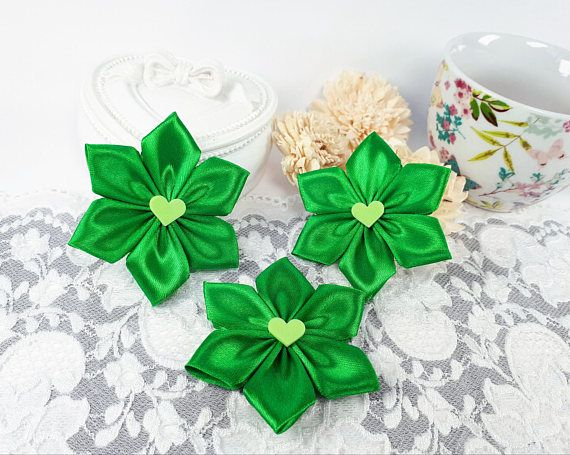 Green satin ribbon flowers applique flowers green decorative by Rocreanique