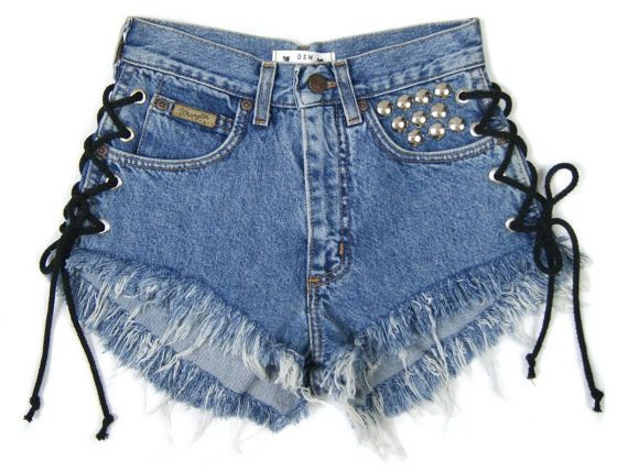 LACE UP Shorts blue high waisted shorts vintage by DSMjeans