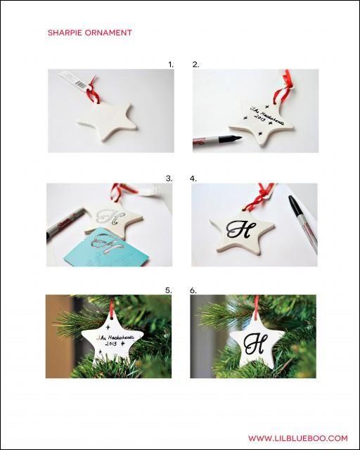 Free Sharpie Marker Ornament Tutorial PDF Instructions for a Pinterest Craft Party via lilblueboo.com