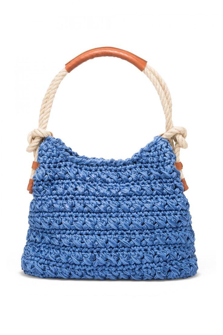 Hand woven raffia and cord bag.