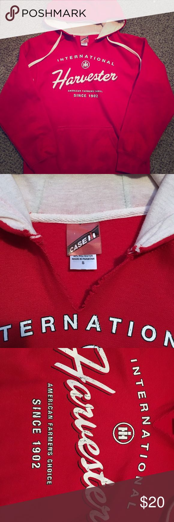 """CASE IH international harvester sweatshirt hoodie If it ain't red, leave it in the shed! Adorable case sweatshirt in signature case red. Marked size women's small, but definitely fits like an XS which is why I'm selling it. Really hate to see this one go because it's so cute. Cut at the neck with distressed logo (pictured). Perfect for the petite country girl, just not for a plump farmers wife like myself 😂I offer 20% off bundles of 2+ and have dozens of $4 """"add on"""" items. ❌NO…"""