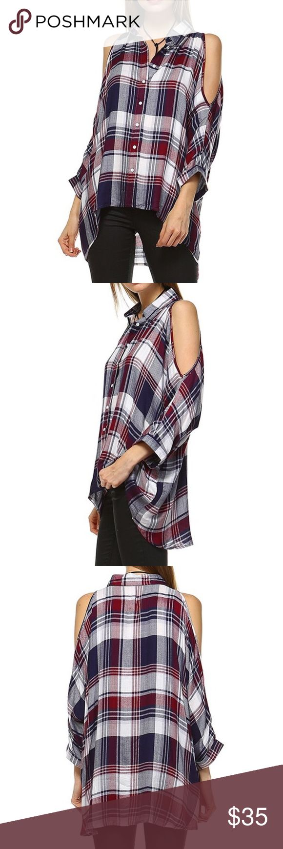 Cold Shoulder Plaid Top Brand new! Super cute! 15% off of bundles! FEEL LIKE MAKING AN OFFER? Please do it through the make an offer feature as I will no longer negotiate prices in the comments section. PRICE IS FINAL ON ITEMS $15 or less unless bundled. Hannah Beury Tops