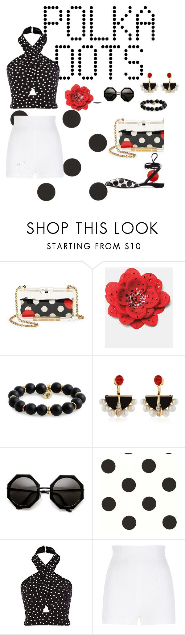 """Polka dot style"" by ch3ll3y-styles ❤ liked on Polyvore featuring RED Valentino, Bourbon and Boweties, Lalique, York Wallcoverings, La Perla and Pierre Hardy"