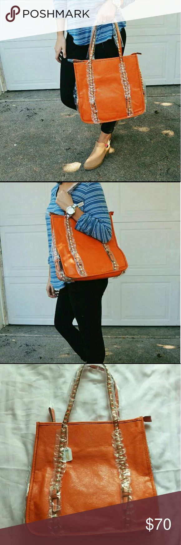 [boutique] NWT orange stud tote bag Orange tote bag with studs on straps. The perfect color to bring in fall!  Boutique! NWT! Bags Totes