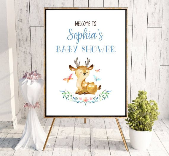 Baby Shower Welcome sign Woodland Deer Whimsical Printable
