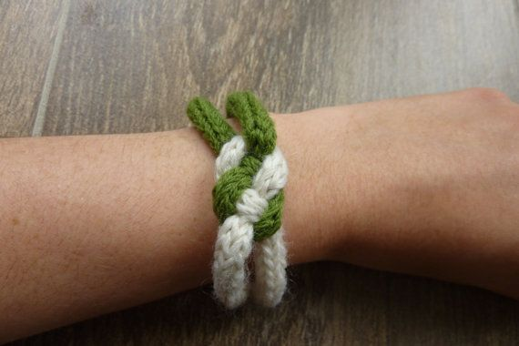 White and green bracelet with a slip knot