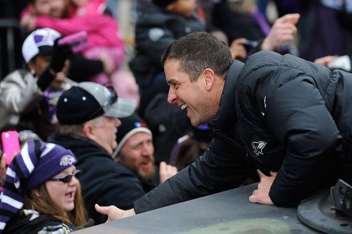 Coach John Harbaugh at the parade.