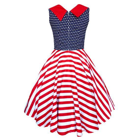Pin Up Dress USA American Flag Dress Stars by LadyMayraClothing