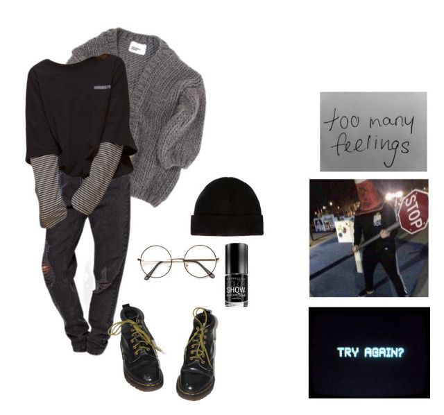 """""""weird new age grunge"""" by lemonscentedgay on Polyvore featuring I Love Mr. Mittens, Dr. Martens and Maybelline"""