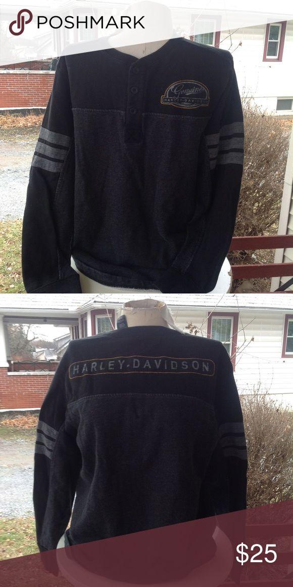 Mens Harley Davidson Sweatshirt. SiZe medium, black and grey, a little worn but in good condition. Harley-Davidson Shirts Sweatshirts & Hoodies