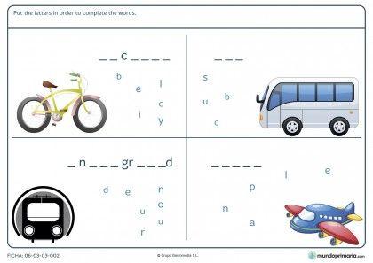 Ficha de los nombres de los transportes en inglés para primaria
