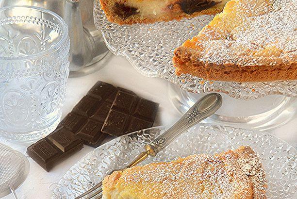 Crostata con crema alla ricotta e cioccolato