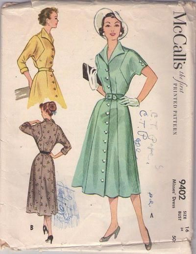 MOMSPatterns Vintage Sewing Patterns - McCall's 9402 Vintage 50's Sewing Pattern GLORIOUS Lucy Wing Collar, Square Armhole Front Buttoned Daytime Coat Dress, New Look Era Size 16