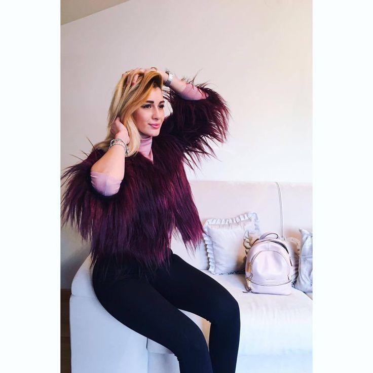 Alina Eremia rocking our burgundy short coat