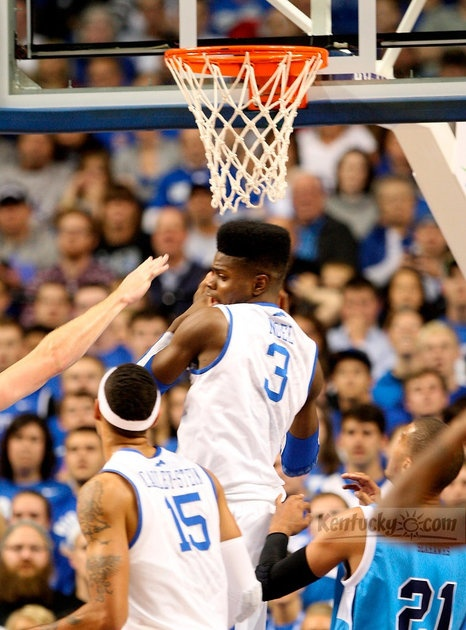 UK forward Nerlens Noel (3) grabbed a rebound during the first half of the Northwood at Kentucky exhibition basketball game at Rupp Arena in Lexington, Ky., on Thursday Nov. 1, 2012.