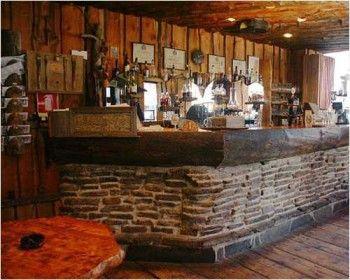 Log Home Stone Indoor Bar