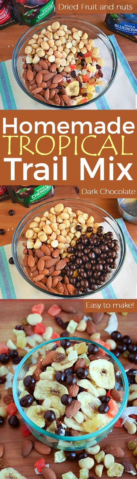 Homemade Tropical Trail Mix | by Life Tastes Good loaded with dried fruit, nuts, and dark chocolate is a better-for-you choice when you reach for a snack during the day. #LoveDoveFruits #Ad