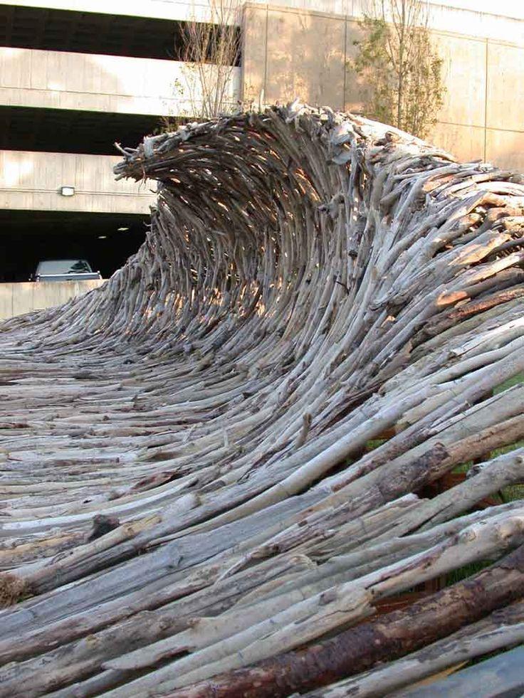 land art...Driftwood Wave by Shane